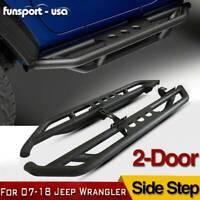 for 07-18 Jeep Wrangler JK 2-Door Side Step Armor Nerf Bars Guard Running Boards