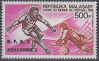 PP123 - MALAGASY MADAGASCAR STAMPS 1974 WORLD CUP FOOTBALL/SOCCER 500F MNH
