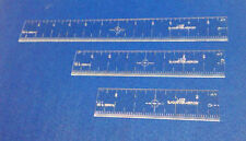 CLEAR CENTERING RULERS  - 3 PIECE SET - AID FOR LEATHER CRAFT - LAYOUT GRID