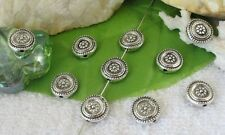 40 PCS Tibetan silver flower flat round spacer beads FC9343