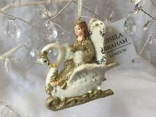 Princess Fairy In Swan Sleigh Gold Glitter Christmas Decoration Gisela Graham