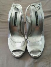 COLLETTE DINNIGAN Silver Patent Leather Suede Stilettos Heels Shoes MI Italy   1