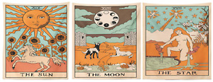 TAROT CARD [Sun, Moon, Star] Cotton Wall Hanging Poster Tapestry Hippie 40x30""