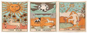 "TAROT CARD [Sun, Moon, Star] Cotton Wall Hanging Poster Tapestry Hippie 40x30"""