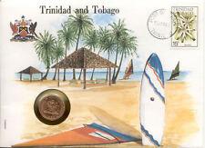 superbe enveloppe TRINIDAD ET TOBAGO pièce monnaie 5 cts 1983 UNC NEW timbre
