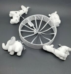 Baby Crib Mobile PLUSH ZOO ANIMALS ONLY Hanging White Gray Cloud Island