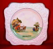 More details for crown ducal cake plate florentine honey glaze vintage inn horse & carriage