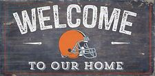 "Cleveland Browns Welcome to our Home Wood Sign - 12"" x 6""  Decoration Gift"