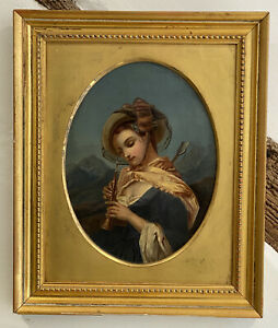 19TH CENTURY SCHOOL ANTIQUE OIL PAINTING ON CANVAS/BOARD PORTRAIT YOUNG LADY