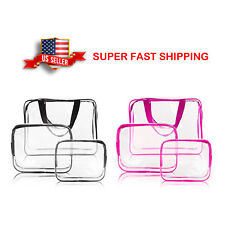 Waterproof Travel Cosmetic Makeup Toiletry Kit 3pc Clear Kit