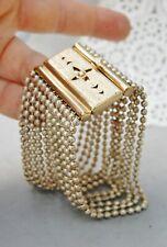 "Two Tone Art Deco Bracelet 1 1/2"" Wide Silver Ball Chain/ Gold Box Clasp Vintage"