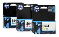HP 564 Cyan Magenta Yellow Ink Cartridge Combo CB318WN-19WN-20WN Genuine New