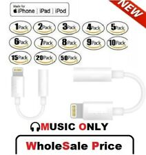 For iPhone headset Headphone Adapter Jack 8 Pin to 3.5mm Cord Cable Dongle Lot