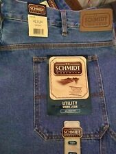 Schmidt Workwear Men's 42x34 Carpenter Utility Work Jean Pants blue Relaxed Fit