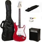 RockJam Full Size Electric Guitar Superkit RJEG02SKRD Red for sale