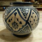 Antique Moroccon Safi Handpainted Middle East Pottery Glazed Vase