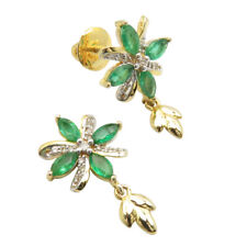 Natural Marquise Green Emerald Diamonds 14K SOLID GOLD 3.27 Grams Earrings