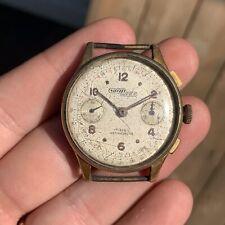 Nicolet Watch Vintage Chronograph Rare Column Wheels Men For Parts Or Repair