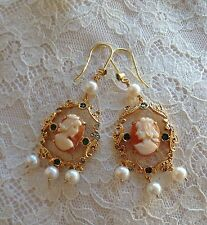 Antique style cameo cornelian earrings Silver pearl made in italy