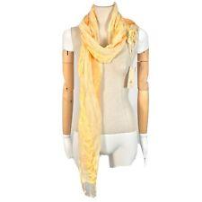 Prana White Scarf Paisley Design Fringe Yellow Spring NWT