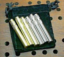 """6- Metal Cribbage Pegs For 1/4"""" Holes, 3-Silver,+3-Gold USA.+FREE Velvet Pouch a"""