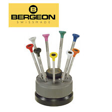Bergeon 30081-S09, Stainless Steel Screwdrivers in Rotating Stand (Set of 9 PCs)