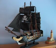 "Wooden Ship Model PIRATE SHIP w/JOLLY ROGERS 13""Long FULLY ASSEMBLED Gold/Black"