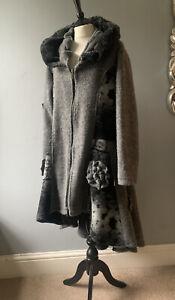 "MADE IN ITALY Fabulous Boiled wool blend black grey frock Coat sz L ch 50"""