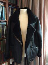 De colección chaqueta de cuero de Vuelo de Piel de Oveja Negro Tamaño 12