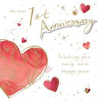 "1st Anniversary Card ""Heart Design"" Square Size 6.25"" x 6.25"" JA138"