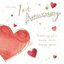 """1º Tarjeta De Aniversario"""" Diseño corazón """"Cuadrado Tamaño 15.9cm x ja138"""