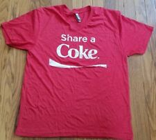 COCA COLA Unisex SHARE A COKE T Shirt V Neck RED WHITE Size Large