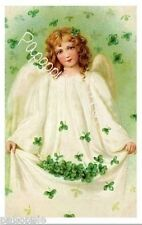 St Patrick's Day Fabric Block Vintage Postcard on Fabric Irish Angel Shamrocks
