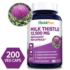 NusaPure Milk Thistle Seed 12,500mg - 200 Veg Caps ( Non-GMO & Gluten-free)