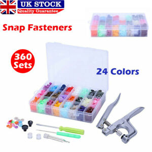 24 Colours 360 Sets KAM Snaps Snap Starter Plastic Poppers Fasteners 1 Plier Kit
