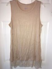 LOGO by Lori Goldstein Knit Tank with Scalloped Lace Trim SANDSTORM size LARGE