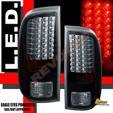 08-13 Ford F250 F350 F450 Super Duty XL XLT Pickup Black LED Tail Lights Lamps