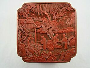 Antique Highly Carved Chinese Cinnabar Large Box Landscape With Figures