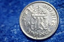 ENGLAND: 1942  SILVER 6 PENCE   VERY FINE PLUS!   KING GEORGE VI