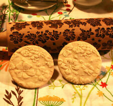 Engraved wooden rolling pin Flowers