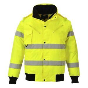 Portwest C467 Hi Vis 3in1 Bomber Jacket Waterproof Multi Pocket Work Wear Safety