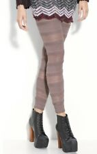 Free People Leggings Stretchy Lace dusty pink brown Ruffled Striped XS NEW