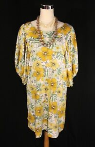 Lapis Yellow & Green Floral Retro Style Loose Fit Tunic Dress - Sm Med