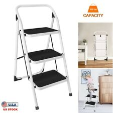Non Slip 3 Level Step Stool Folding Ladder Safety Tread Kitchen Home Use 330 Lbs