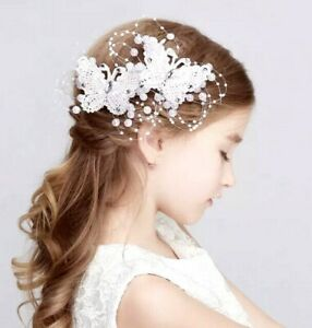 DIAMANTÉ RHINESTONE-PEARL BUTTERFLY HAIR CLIP-FLOWER GIRL-BRIDESMAID-IVORY-RED
