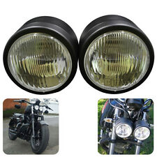Twin Round Dominator Headlight For Dual Motorcycle Streetfighter Cafe Racer