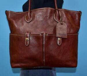 DOONEY & BOURKE Brown Florentine Vachetta Leather Shoulder Pocket Tote Purse Bag