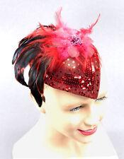 LADIES RED BURLESQUE FANCY FASCINATOR RIDING HEADPIECE FANCY DRESS COSTUME HAT