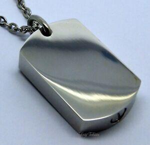 Dogtag Cremation Urn Ashes Necklace Keepsake Chunky Pendant for Ashes