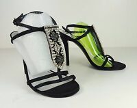 $398 Size 5.5 Stuart Weitzman Sinful Black Strappy Heel Sandals Womens Shoes NEW